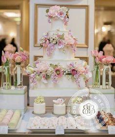 Bobbette & Belle Cake A Wonderful Wedding Dessert Table Wedding Cakes With Cupcakes, Cupcake Cakes, Cupcake Ideas, Beautiful Wedding Cakes, Beautiful Cakes, Dessert Buffet, Dessert Tables, Wedding Cake Inspiration, Sugar Flowers