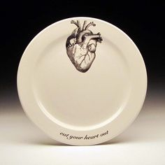 eat your HEART out 9 inch dinner plate by foldedpigs on Etsy, $20.00