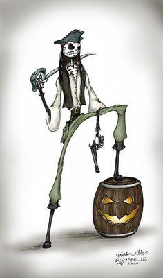 Jack Skellington and Jack Sparrow crossover Tim Burton Kunst, Film Tim Burton, Tim Burton Style, Tim Burton Art, Coraline, Jack Skellington, Jack Sparrow Dibujo, Jack Sparrow Drawing, Johnny Depp