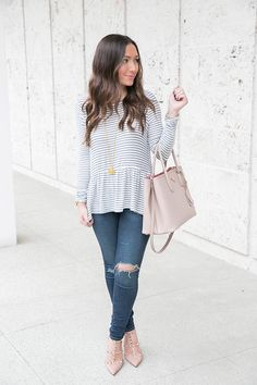 The softest navy and white striped peplum top with AG jeans and blush accessories