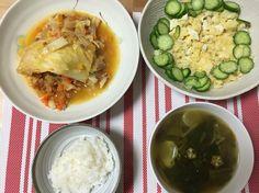 巻かないロールキャベツ ポテトサラダ カレースープ