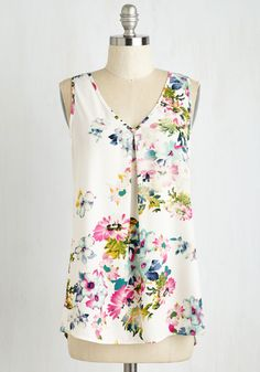 Flow and Tell Top. You look effortlessly elegant as you glide into the garden party clad in this flowing floral tank! #white #modcloth
