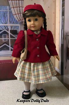 School Days for Molly, Original Designs by KeepersDollyDuds American Girl Doll Molly, American Girl Doll Shoes, American Doll Clothes, Girl Doll Clothes, Girl Dolls, American Girls, Skirt Patterns Sewing, Doll Clothes Patterns, Clothing Patterns