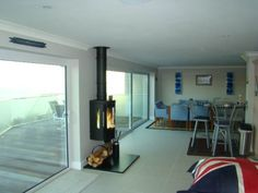 Kernow Fires Hwam 3610 wall hung fire installation wood burning stove installation in Cornwall. Log Burner Living Room, Open Plan Kitchen Living Room, New Living Room, Living Room Modern, Stove Installation, House Extension Design, Up House, Wood Burner, Modern Kitchen Design