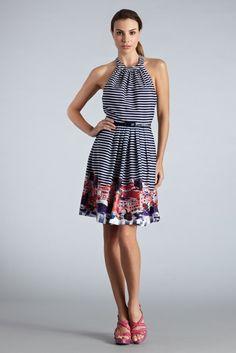 Riviera Stripe Halter Dress from Muse $158