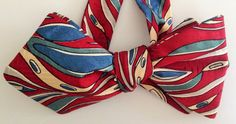 Silk Bow Tie - HAPPY JOE Waves  - One-of-a-Kind ,Handcrafted for Men - Freestyle