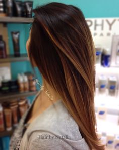 Caramel Balayage highlights for Brunettes.  L'Oreal hair color salon Denver CO.  www.hairbynatalia.com