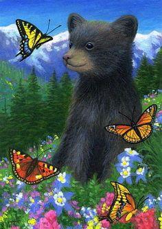 bear with butterfly art | Bear cub butterflies wildflowers mountains landscape original aceo ...