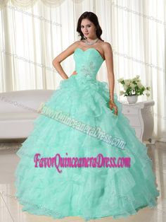 Baby Green Sweetheart Neck Organza Quinceanera Dress with Appliques