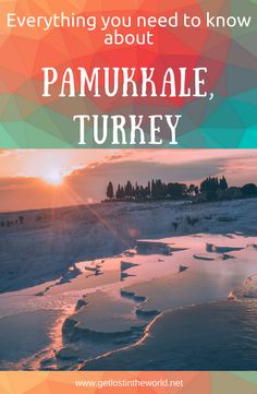 Travel guide to Pamukkale, Turkey. Pamukkale photography. Pamukkale, Turkey hot springs. Everything you need to know before visiting. Things to do and things to visit in Pamukkale. Hierapolis theater and ancient city. Ancient Pool. White terraces of Pamukkale. Pamukkale lugares. World heritage sites in Turkey. #pamukkale #photography #travelguide #turkey #whiteterraces #unesco #ruins