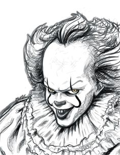 Messy portrait of Pennywise~ Creepy Sketches, Badass Drawings, Creepy Drawings, Dark Art Drawings, Halloween Drawings, Pencil Drawings, Art Sketches, Scary Halloween, Penny Wise Clown