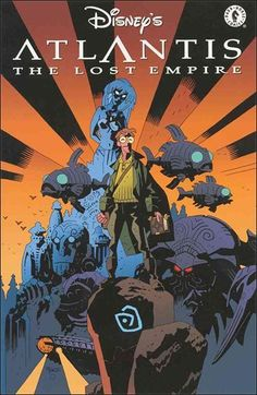 Disney's Atlantis The Lost Empire, cover by Mike Mignola. If you ever run into this book you should buy it. Not for the comic but for the appendix: Mike Mignola's Sketchbook. Eight pages full of. Comic Book Artists, Comic Artist, Comic Books Art, Disney Insider, Hellboy Tattoo, Marvel Comics, Hellboy Comics, Dark Horse Comics, Mike Mignola Art