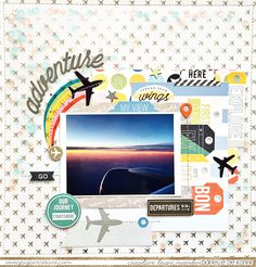 Adventure: A shaker box style layout with sequins behind patterned vellum. What a fabulous idea :)
