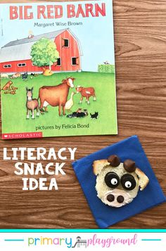 Big Red Barn is a simple, rhythmic book about the cycle of a day on a farm, where a family of animals peacefully plays and sleeps. It pairs as a perfect read as an addition to your farm animal unit or a field trip to a farm. Come see our snack idea and printable to go along with the book. #farm #booksnack #literacysnack #bookswithactivities