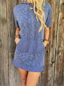 sweatshirt dress, hoodie dress, dress with pockets, trendy casual dress - Lyfie