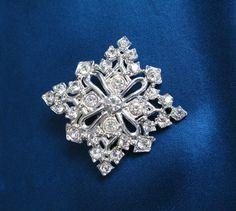 Rhinestone Snowflake Brooch Large Vintage Pin by greenleafvintage1, $29.99