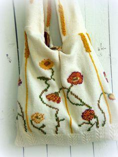 One of a Kind Bohemian Hand Knit  Slouch Purse by JacketsbyJahne, $78.00