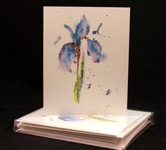 Abstract Iris Original Watercolor PRINT Card Set (Set of Four) Watercolor Cards, Abstract Art, Iris Card, Spring Note Cards, Purple Iris