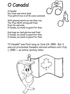About Canada - National Anthem Canada For Kids, Canada 150, I Am Canadian, Canadian History, Teaching Social Studies, Teaching Kids, O Canada Lyrics, Canada Day Crafts, World Thinking Day