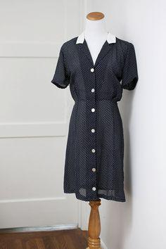 Vintage Navy Polka Dot Shirtdress Small