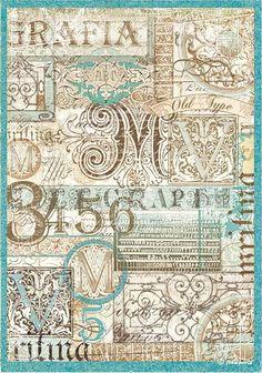 "Motiv-Strohseide ""Kalligrafie"" - DIN A4 Motivstrohseide"