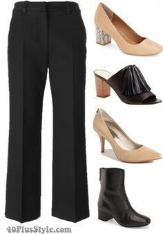 cropped flare pants shoes pair boots pumps heels | 40plusstyle.com