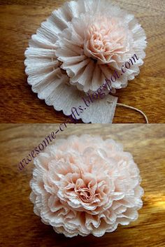 """a-ladys-findings: """" DIY: Crepe Paper Flower """" Flower Tutorials Directory - Click through to view 30 Fabulous Paper and Fabric Flowers To Make Immediately!DIY Crepe Paper Flower - lovely crafting inspiration for gift packaging & decorMaybe this on Paper Flower Tutorial, Paper Flowers Diy, Handmade Flowers, Flower Crafts, Diy Paper, Paper Crafting, Flower Diy, Streamer Flowers, Craft Flowers"""