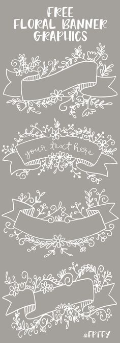 Free Floral Banner Graphics- Set of ok! – Free Pretty Things For You Gorge… Free Floral Banner Graphics- Set of ok! – Free Pretty Things For You Gorgeous Banners to use for Invitations… Cards… Weddings… Buntings… Scrapbooking and… Continue Reading → Free Printable Sticker, Free Printables, Art Doodle, Doodle Fonts, Calligraphy Doodles, Floral Banners, Fabric Banners, Paper Crafts, Diy Crafts