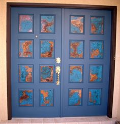 Going to do this to the glass on my front door but use verdigris green instead of blue.