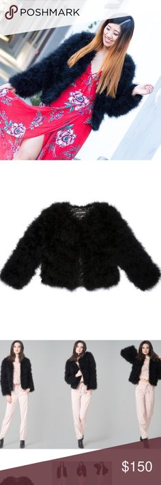 [NEW] Ava & Kris: Blake Coat Black Feathers In new condition with original tags. I wish I could keep this jacket, but it's much too tight for me to wear comfortably because of my broad shoulders 😭 Tag states Size Large, but I personally believe it fits a Size Small. Currently sold online for $198. Ava & Kris Jackets & Coats