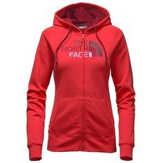 The North Face Women's Half Dome Full Zip Hoodie ($55) ❤ liked on Polyvore featuring tops, hoodies, hooded pullover, full zip hoodie, raglan top, red hoodies and the north face
