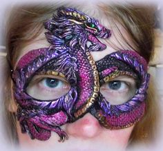 Asian Dragon Mask -originally done for a photo shoot, but now it's in my etsy shop. There's a twin that goes with it that's a red dragon.