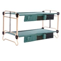 Disc-O-Bed Cam-O-Bunk with 2 Organizers and Leg Extension, Tan/Green, X-Large Disc-O-Bed