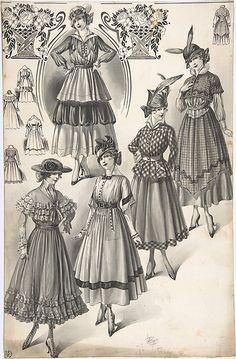 Designs for Five Womens Full-skirted Dresses - c1915