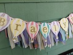 Hot Air Balloon NAME banner with fabric by ThePinkPapermill