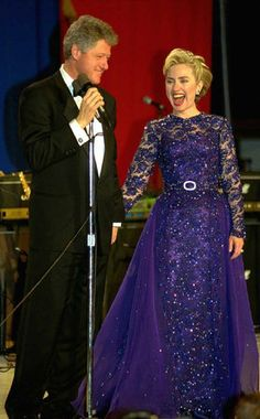 1993 Hillary Clinton's inaugural gown.  This picture is a window in time.  This couple the President and the First Lady have done so much for America.  They will leave a legacy.
