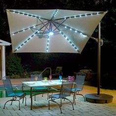 The Fiesta Cantilever umbrella creates an elegant setting in any patio area by combining the convenience of the 10 ft. Santorini II Umbrella with the innovation of a solar powered LED light array. Active solar cells at the umbrella's peak constantly Cantilever Patio Umbrella, Patio Umbrella Lights, Rectangular Patio Umbrella, Offset Patio Umbrella, Patio Umbrellas, Solar Licht, Solar Powered Led Lights, Santorini, Parasols