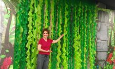 Vines made from plastic tablecloths. :) Could also use blue plastic tablecloths for a waterfall.