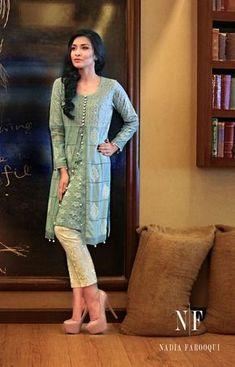 Latest Designs Pakistani Fashion Short Frocks With Capris 2019 Pakistani Outfits, Indian Outfits, Kurta Designs, Blouse Designs, Short Kurti Designs, Indian Attire, Indian Wear, Lehenga, Anarkali
