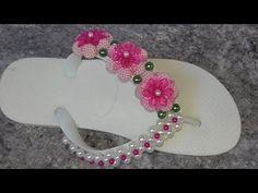 Como fazer: Chinelo Havaiana flores de pérolas craqueladas - Adriana Valério - YouTube