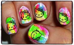 Hello Kitty Neon Nails by JapanNails from Nail Art Gallery