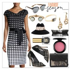 """Polka Dotted Knit Dress, Black/White"" by camry-brynn ❤ liked on Polyvore featuring St. John, Lulu Frost, Ringly, Panacea, Oliver Peoples, Manolo Blahnik, Eugenia Kim, BreeLayne, Christian Siriano and MAC Cosmetics"