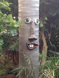 Tree Faces by Christo Venter Garden Crafts, Garden Art, Tree Saw, Tree People, Cement Art, Tree Faces, Unique Trees, Tree Trunks, Mosaic Garden