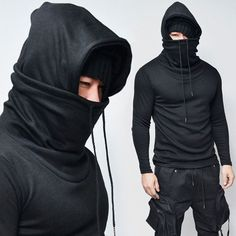 Ninja Hoodie via Mode Cyberpunk, Cyberpunk Fashion, Dark Fashion, Mens Fashion, Ninja Outfit, Apocalyptic Fashion, Jogger Sweatpants, Mens Clothing Styles, Street Wear