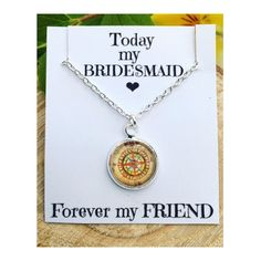 A personal favourite from my Etsy shop https://www.etsy.com/uk/listing/512167006/bridesmaid-gift-necklace-vintage-compass
