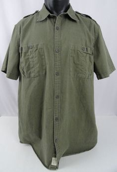 Ralph Lauren Denim & Supply Mens XXL Olive Green Safari Shirt Work Cargo Polo SS #DenimSupplyRalphLauren #ButtonFront