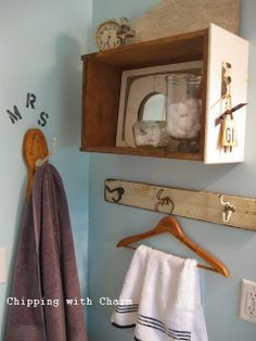 Chipping with Charm: Getting Organized with Junk, Drawers and Salvaged Hooks in the Bathroom...http://chippingwithcharm.blogspot.com/