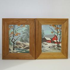 Vintage PAIR Paint by Numbers Winter Scene Framed Art. Starting at $3