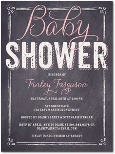 baby shower invite - girl pink gray