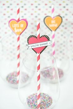 Celebrate Valentine's Day with handmade decorations, and bring a little color to your tablescape with these paper heart straw toppers. Valentines Day Decorations, Valentine Day Crafts, Holiday Decorations, Valentine's Day Quotes, Freezer Paper Crafts, Paper Hearts Origami, Vinyl Crafts, Love, Diy Craft Projects
